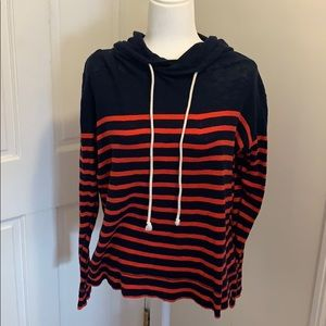 J Crew Outlet Striped Cotton Pullover Hoodie